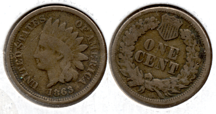 1863 Indian Head Cent Good-4 ef Staple Scratch