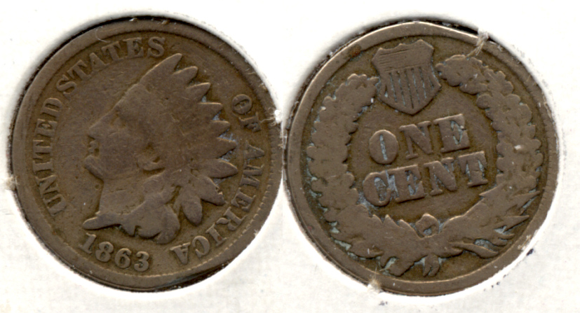 1863 Indian Head Cent Good-4 eh Cleaned