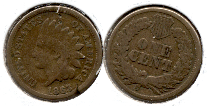 1863 Indian Head Cent Good-4 ei Rim Tic