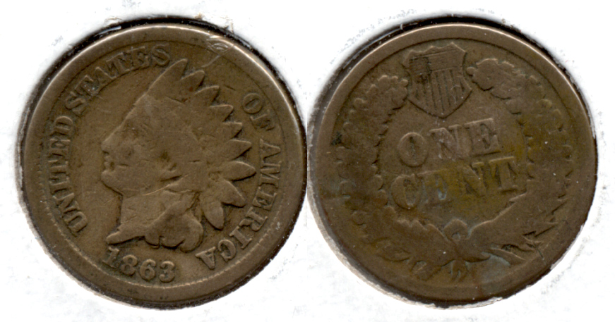 1863 Indian Head Cent Good-4 en Cleaned