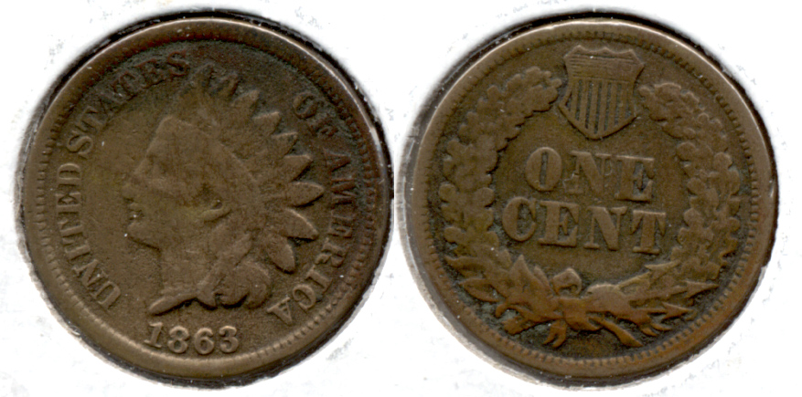 1863 Indian Head Cent Good-4 er Dark Area