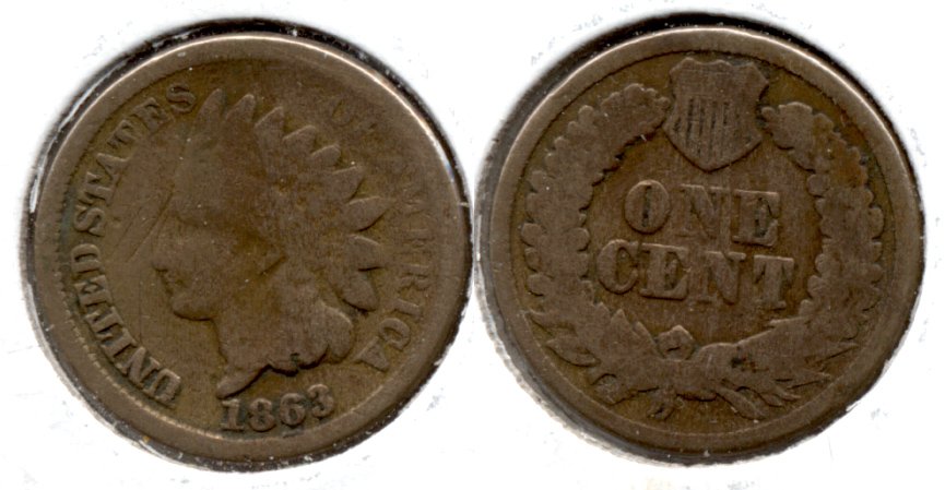 1863 Indian Head Cent Good-4 es Old Scratch