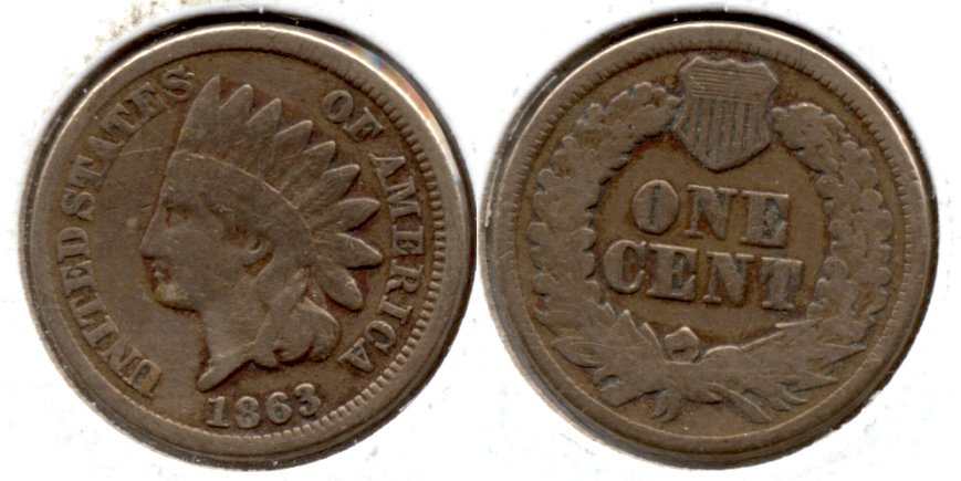 1863 Indian Head Cent Good-4 fa