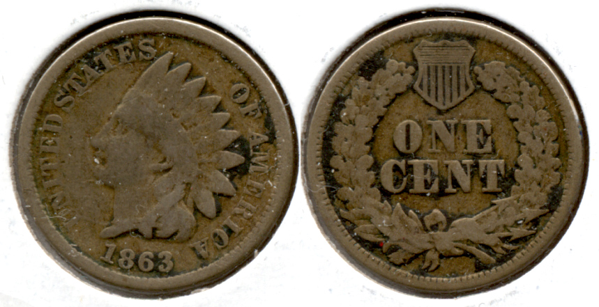 1863 Indian Head Cent Good-4 fd