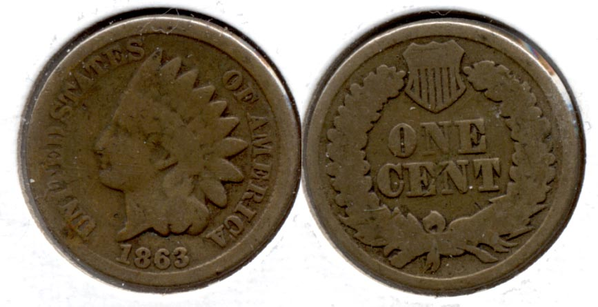 1863 Indian Head Cent Good-4 fk