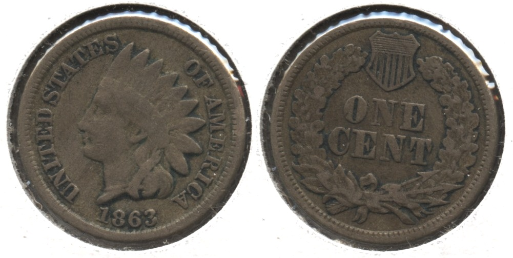 1863 Indian Head Cent Good-4 #fv