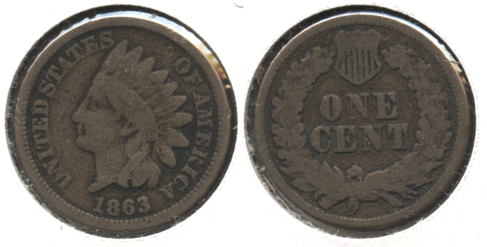 1863 Indian Head Cent Good-4 #fw