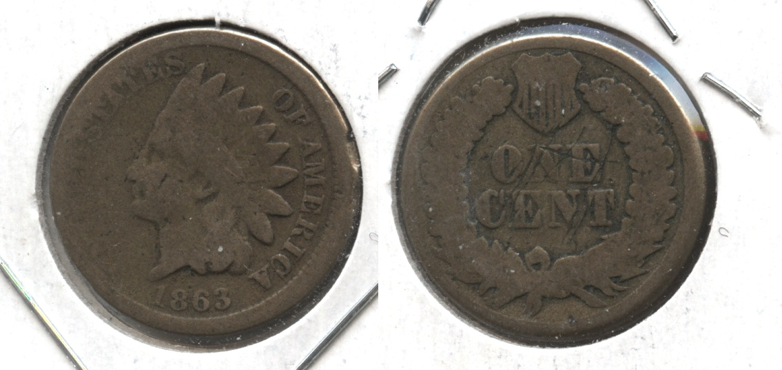 1863 Indian Head Cent Good-4 #gf Reverse Scratch
