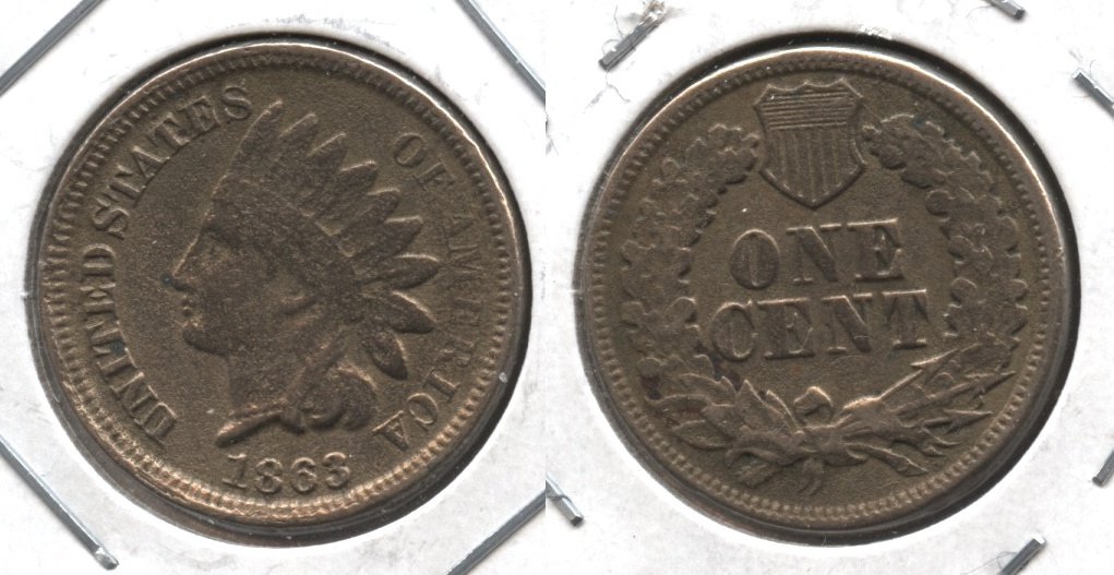 1863 Indian Head Cent Good-4 #gm Porous