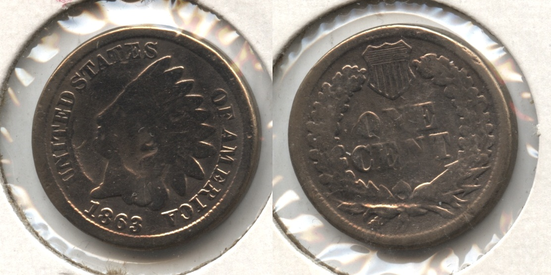 1863 Indian Head Cent Good-4 #go Damage