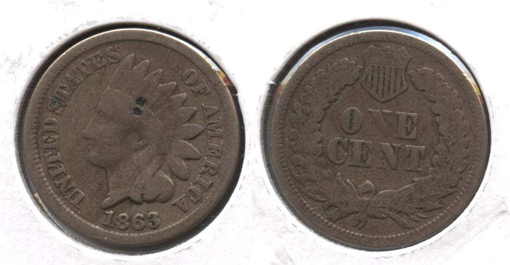 1863 Indian Head Cent Good-4 #gq Two Pits