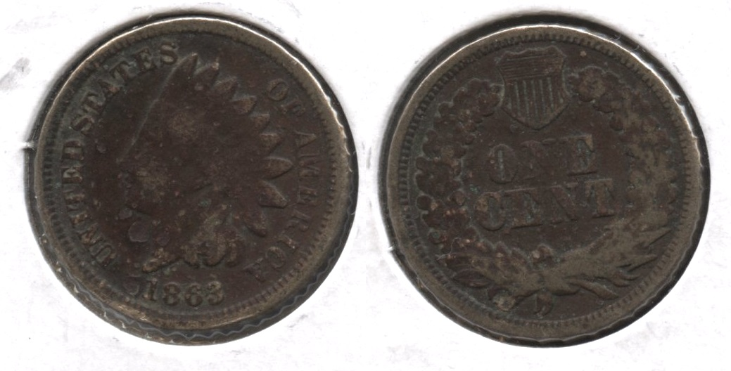1863 Indian Head Cent Good-4 #gr Dark