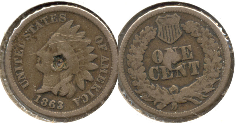 1863 Indian Head Cent Good-4 o Obverse Hit