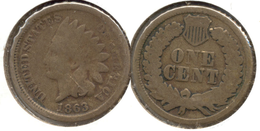 1863 Indian Head Cent Good-4 #r Obverse Scuff