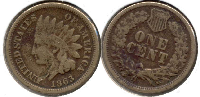 1863 Indian Head Cent Good-4 t Obverse Scuff