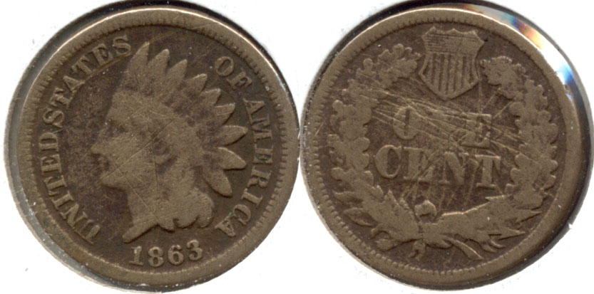 1863 Indian Head Cent Good-4 v Reverse Scratches