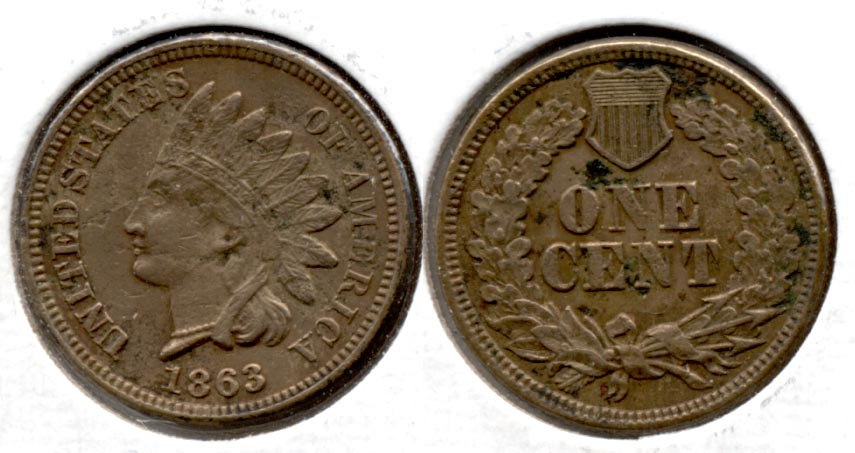 1863 Indian Head Cent VF-20 f Few Pits