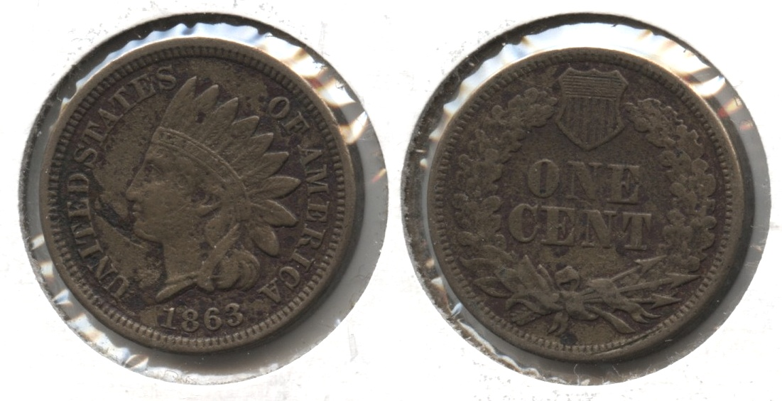 1863 Indian Head Cent VF-20 #j Obverse Flaw