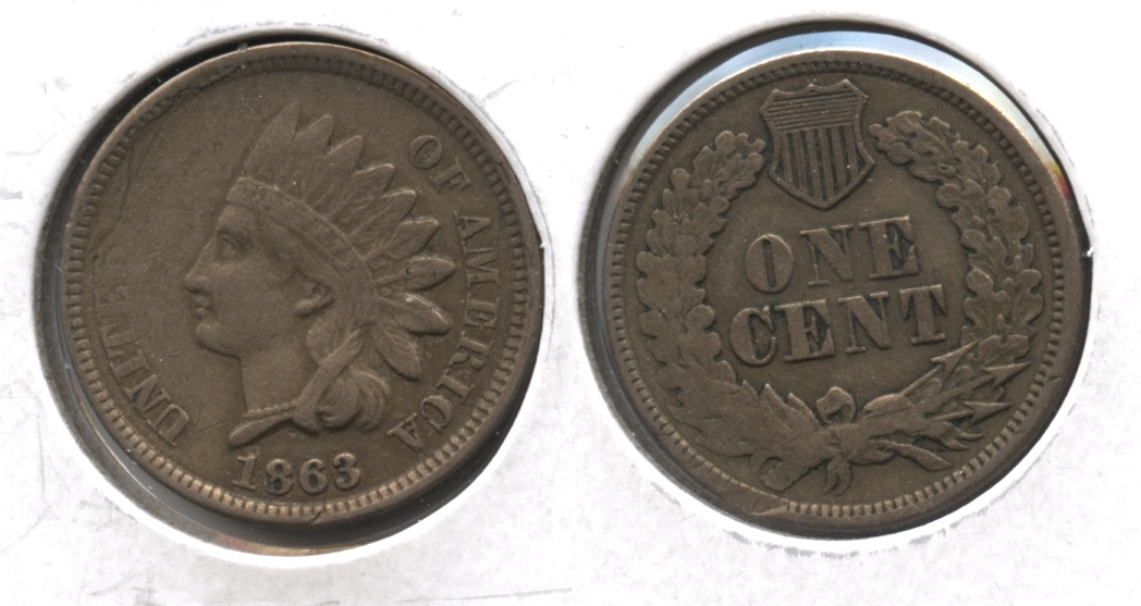 1863 Indian Head Cent VF-20 #m Reverse Bump