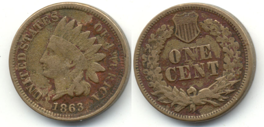 1863 Indian Head Cent VG-8 Red Matter