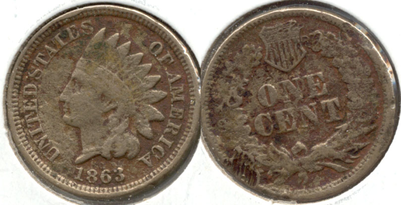 1863 Indian Head Cent VG-8 c Rough