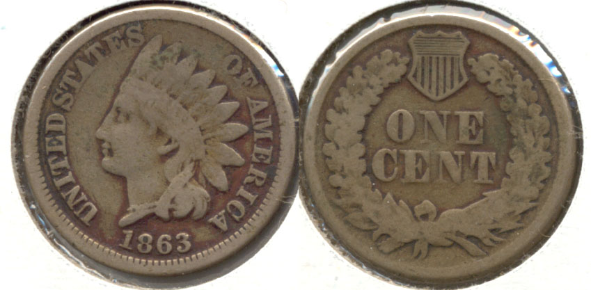 1863 Indian Head Cent VG-8 n