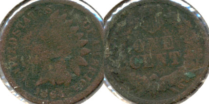 1864 Bronze Indian Head Cent AG-3 f Green