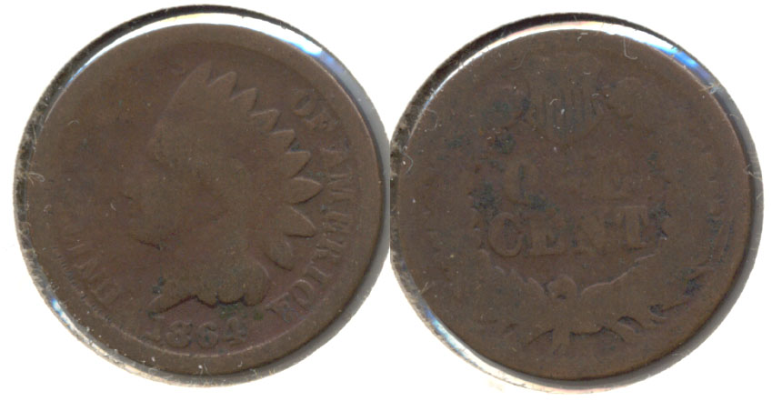 1864 Bronze Indian Head Cent AG-3 l
