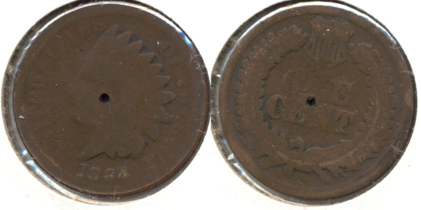 1864 Bronze Indian Head Cent AG-3 p Partial Hole