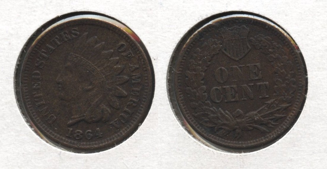 1864 Bronze Indian Head Cent AU-50 #b Porous