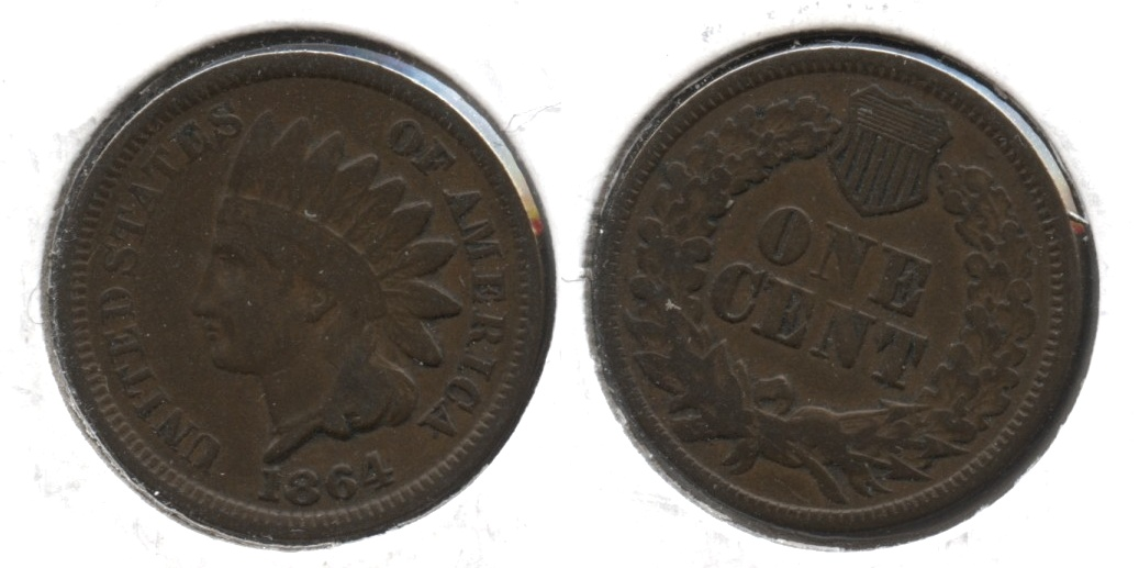 1864 Bronze Indian Head Cent Fine-12 #e