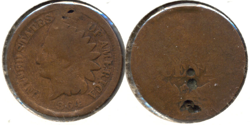 1864 Bronze Indian Head Cent Good-4 af Reverse Pits