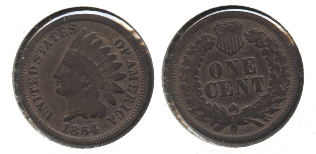 1864 Bronze Indian Head Cent Good-4 #bi Cleaned