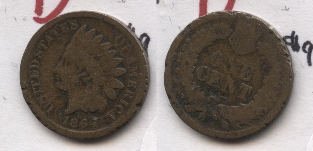 1864 Bronze Indian Head Cent Good-4 #br Rough Edge