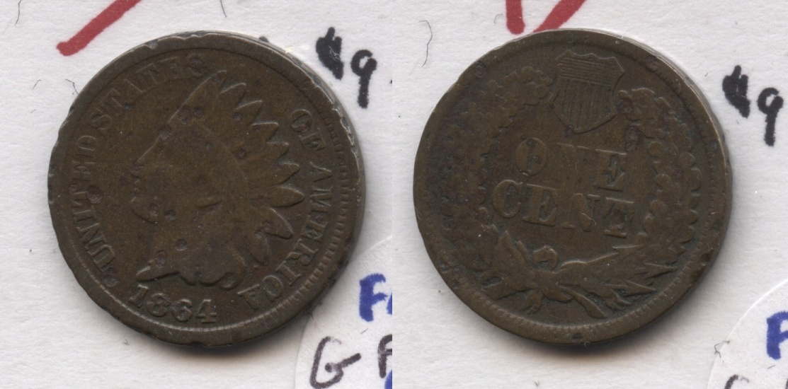1864 Bronze Indian Head Cent Good-4 #bs Few Pits