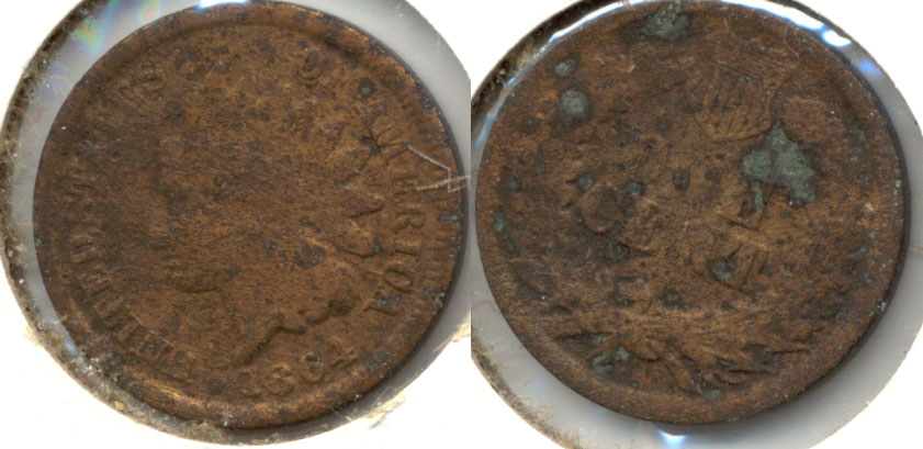 1864 Bronze Indian Head Cent Good-4 f Corrosion