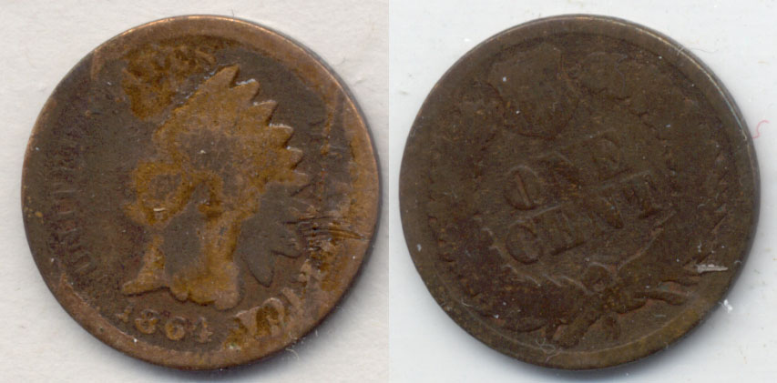 1864 Bronze Indian Head Cent Good-4 j Cleaned Obverse