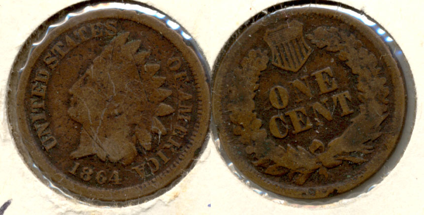1864 Bronze Indian Head Cent Good-4 o