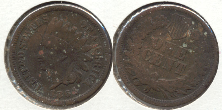 1864 Bronze Indian Head Cent Good-4 x Few Pits