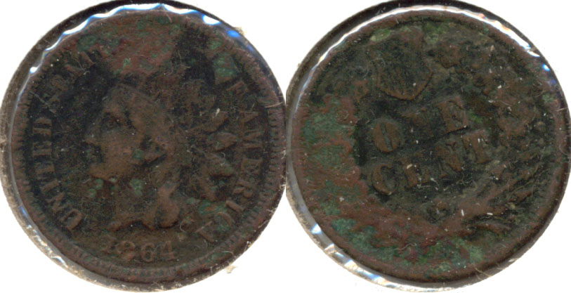 1864 Bronze Indian Head Cent VG-8 Corrosion