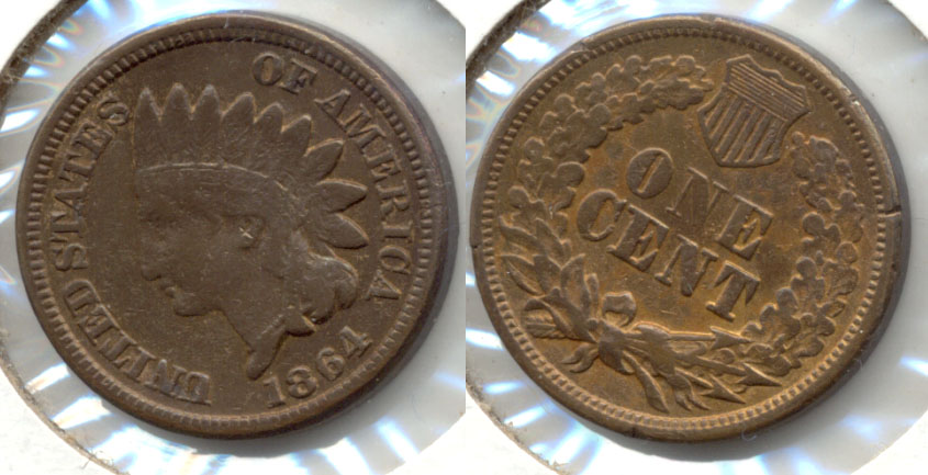 1864 Copper Nickel Indian Head Cent Fine-12 c Cleaned