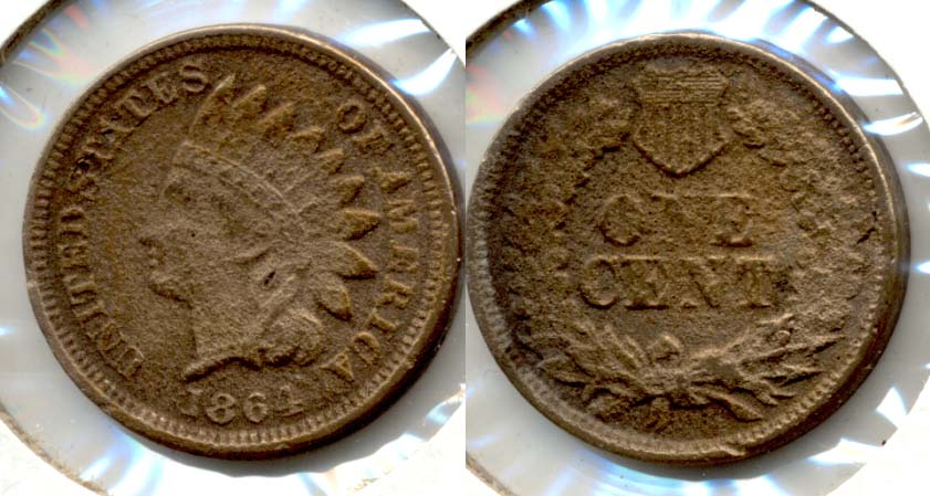 1864 Copper Nickel Indian Head Cent Fine-12 d Rough