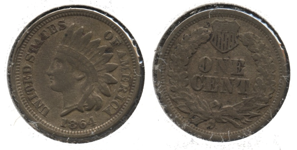 1864 Copper Nickel Indian Head Cent Fine-12 #g
