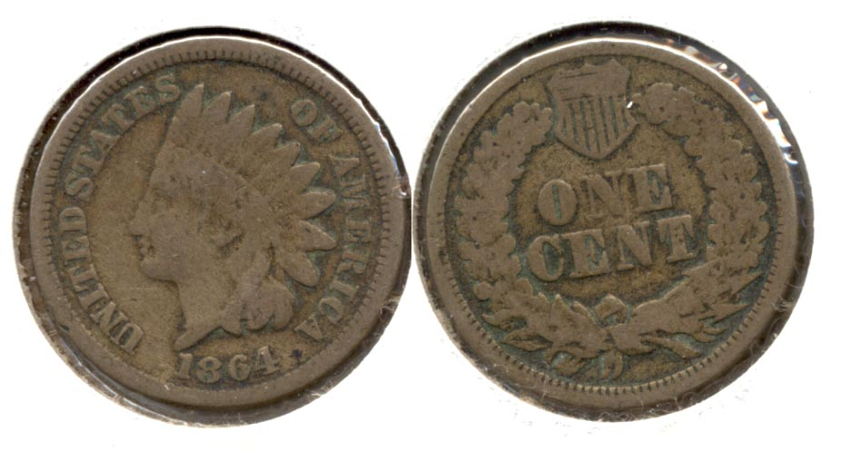 1864 Copper Nickel Indian Head Cent Good-4 aa