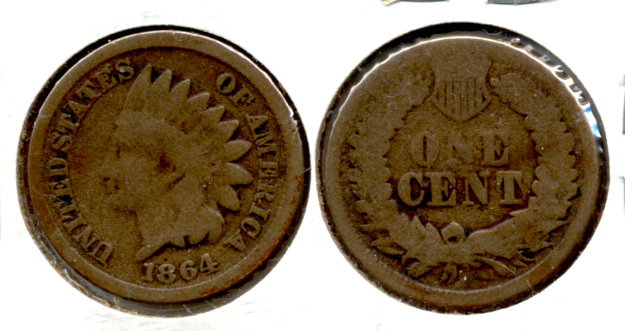 1864 Copper Nickel Indian Head Cent Good-4 ag