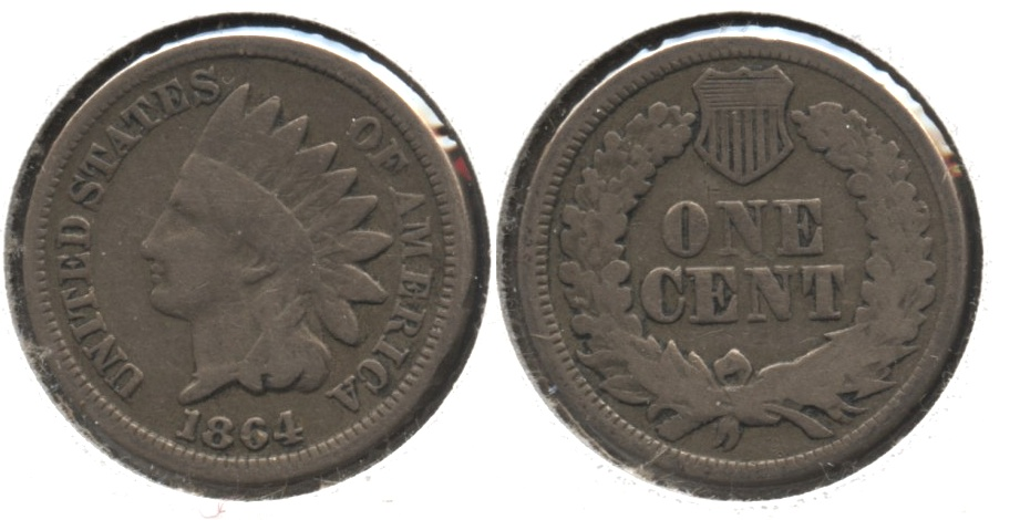 1864 Copper Nickel Indian Head Cent Good-4 #am
