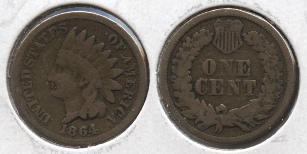 1864 Copper Nickel Indian Head Cent Good-4 #at