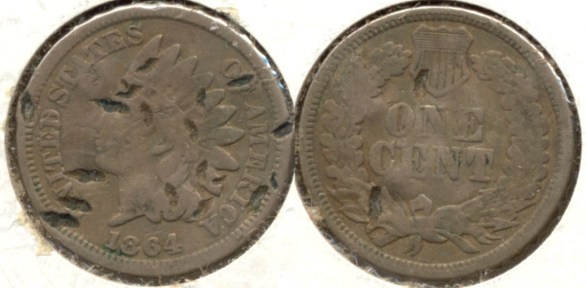 1864 Copper Nickel Indian Head Cent Good-4 b Hits