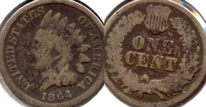 1864 Copper Nickel Indian Head Cent Good-4 i Dark