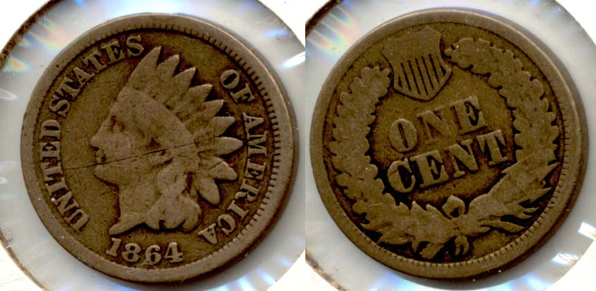 1864 Copper Nickel Indian Head Cent Good-4 y Obverse Scratch